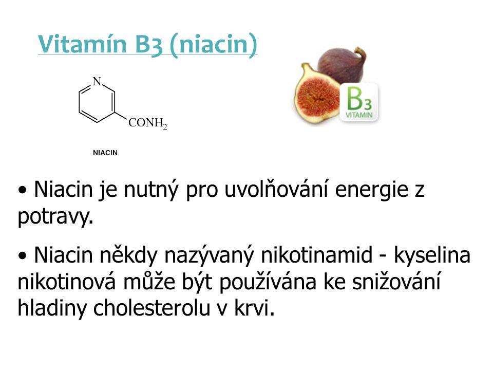 Vitamín B3 (niacin) Niacin je nutný pro uvolňování energie z potravy. Niacin někdy nazývaný nikotinamid - kyselina nikotinová může být používána ke sn