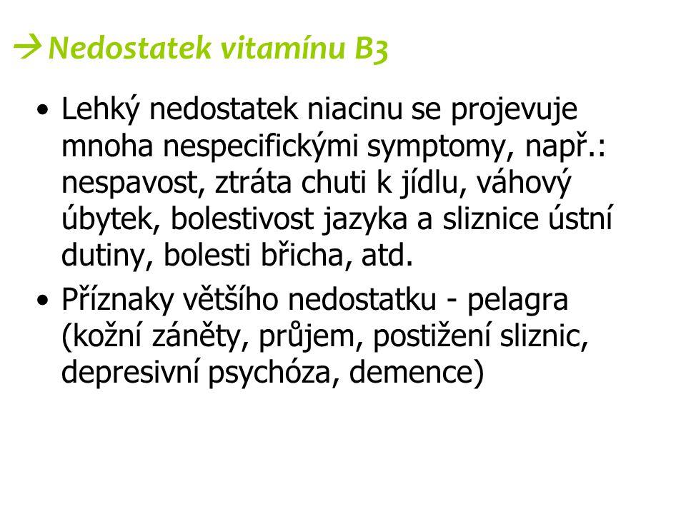 Lehký nedostatek niacinu se projevuje mnoha nespecifickými symptomy, např.: nespavost, ztráta chuti k jídlu, váhový úbytek, bolestivost jazyka a slizn