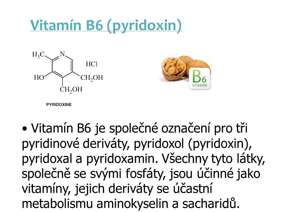 Vitamín B6 (pyridoxin) Vitamín B6 je společné označení pro tři pyridinové deriváty, pyridoxol (pyridoxin), pyridoxal a pyridoxamin. Všechny tyto látky