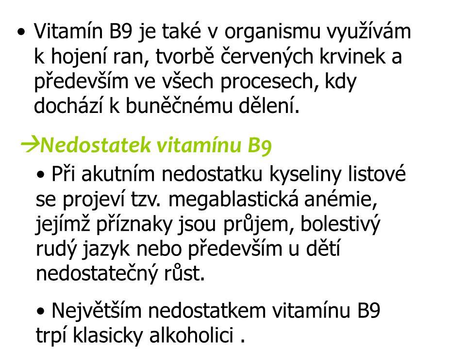 Vitamín B9 je také v organismu využívám k hojení ran, tvorbě červených krvinek a především ve všech procesech, kdy dochází k buněčnému dělení.  Nedos