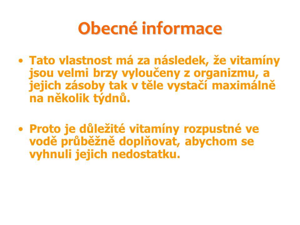 Obecné informace Tato vlastnost má za následek, že vitamíny jsou velmi brzy vyloučeny z organizmu, a jejich zásoby tak v těle vystačí maximálně na něk