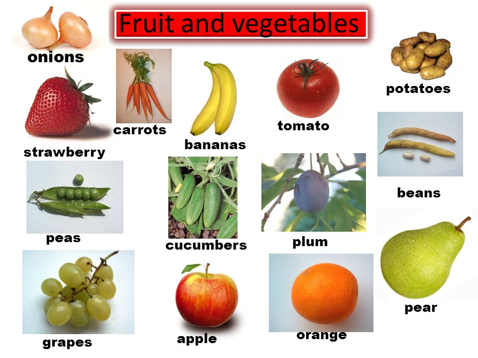 Fruit and vegetables onions strawberry bananas apple orange pear beans potatoes tomato plum carrots peas grapes cucumbers
