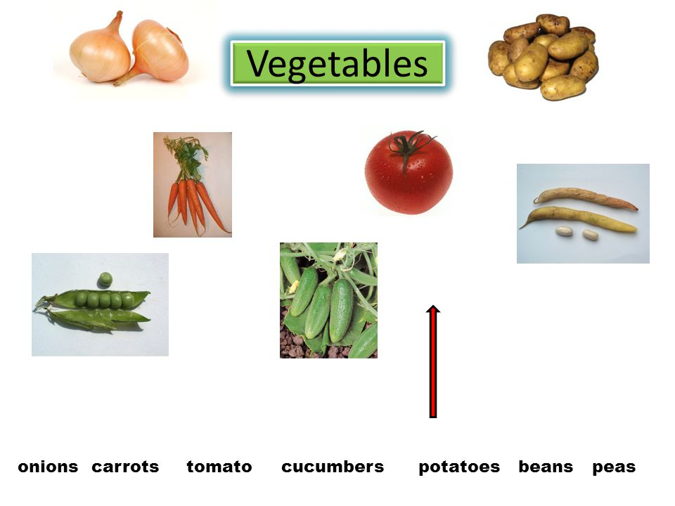 Vegetables onions carrotstomatocucumberspotatoesbeanspeas