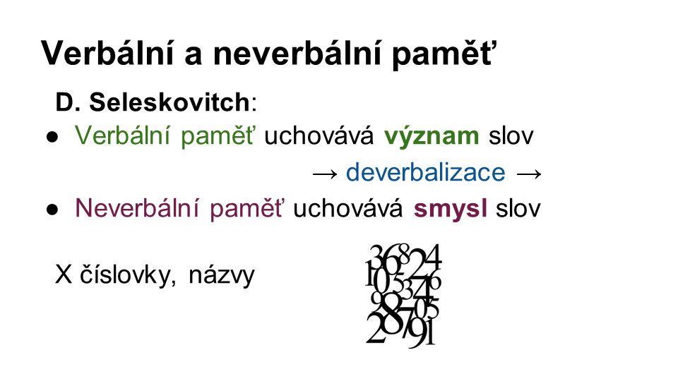 Verbální a neverbální paměť D. Seleskovitch: ●Verbální paměť uchovává význam slov → deverbalizace → ●Neverbální paměť uchovává smysl slov X číslovky,
