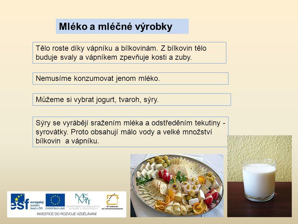 Mléko a mléčné výrobky Tělo roste díky vápníku a bílkovinám.