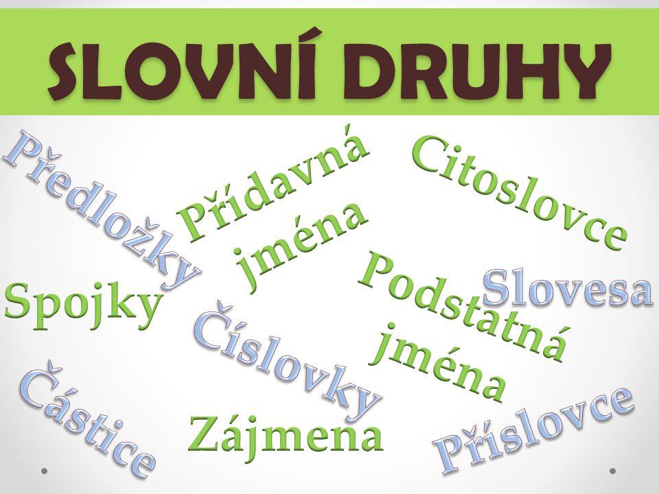 Slovní druhy V českém jazyce máme deset slovních druhů a každé slovo, které známe, můžeme do jednoho ze slovních druhů zařadit.