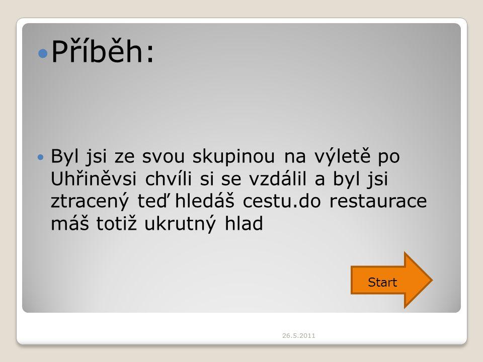 26.5.2011 Příběh: Byl jsi ze svou skupinou na výletě po Uhřiněvsi chvíli si se vzdálil a byl jsi ztracený teď hledáš cestu.do restaurace máš totiž ukr