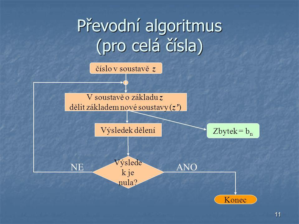 11 Převodní algoritmus (pro celá čísla) číslo v soustavě z V soustavě o základu z dělit základem nové soustavy (z') Výsledek dělení Výslede k je nula?