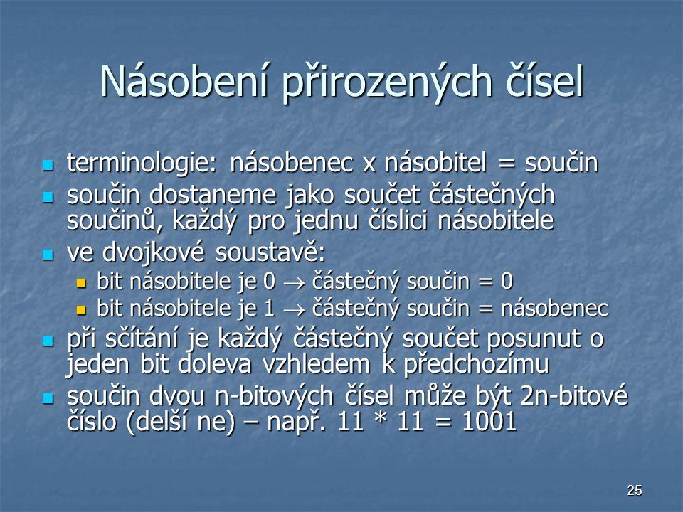 25 Násobení přirozených čísel terminologie: násobenec x násobitel = součin terminologie: násobenec x násobitel = součin součin dostaneme jako součet č