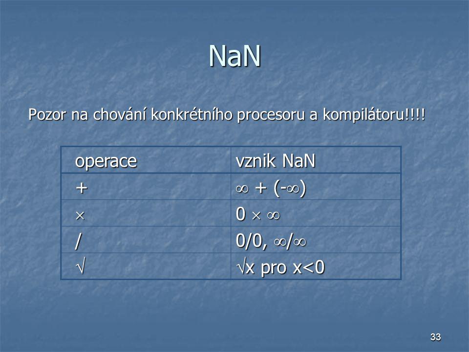 33 NaN Pozor na chování konkrétního procesoru a kompilátoru!!!! operace vznik NaN +  + (-  )  0   / 0/0,  /    x pro x<0