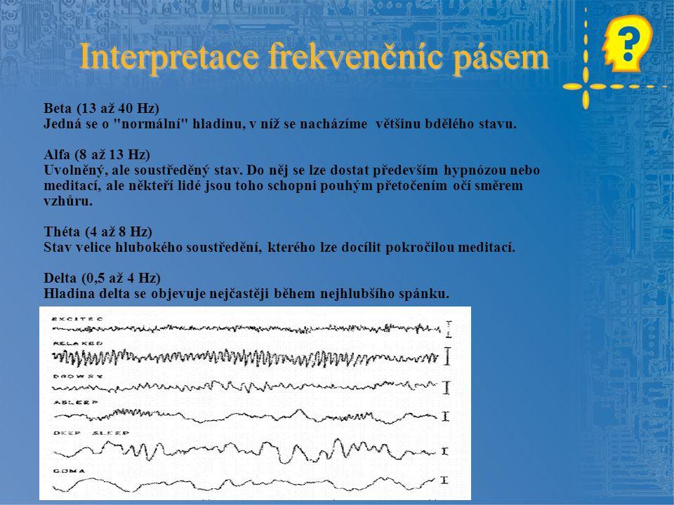 Interpretace frekvenčníc pásem Beta (13 až 40 Hz) Jedná se o