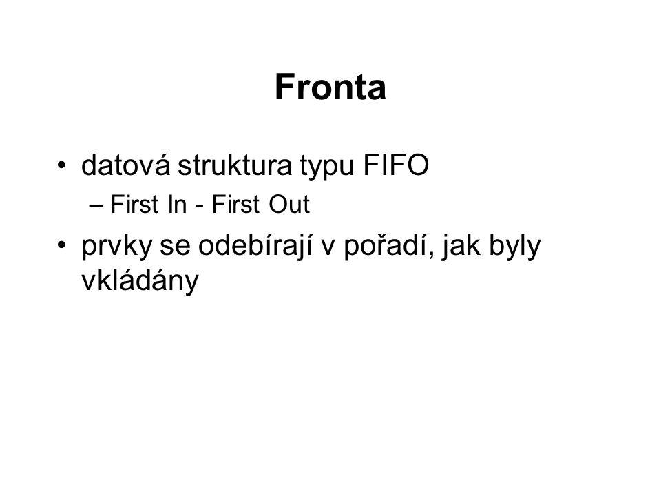 typedef struct { int *pole; int n; /* velikost pole */ int celo, konec; int plna, prazdna; } TFronta2; int init(TFronta2 *f, int vel) { f->prazdna = 1; f->plna = 0; f->n = vel; f->celo = f->konec = 0; f->pole = (int*)malloc(sizeof(int)*vel); if(f->pole!=NULL) return 1; return 0; }