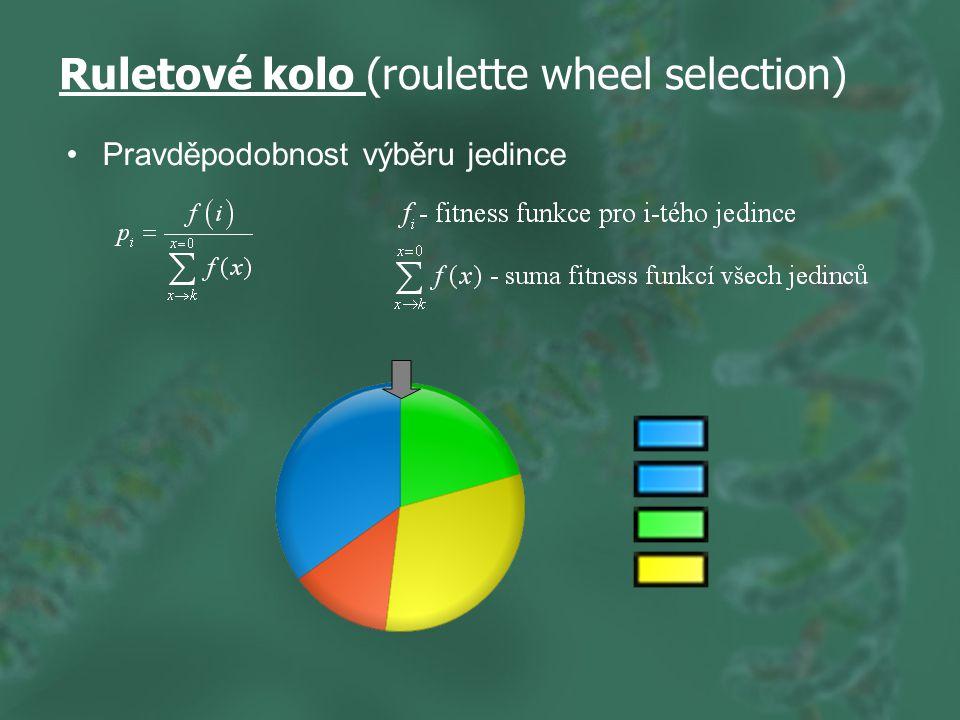 Ruletové kolo (roulette wheel selection) Pravděpodobnost výběru jedince