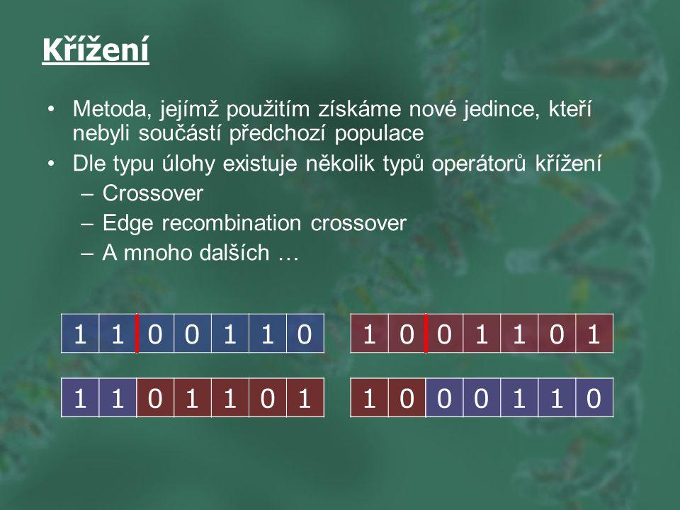 10 Křížení Metoda, jejímž použitím získáme nové jedince, kteří nebyli součástí předchozí populace Dle typu úlohy existuje několik typů operátorů křížení –Crossover –Edge recombination crossover –A mnoho dalších … 11 10 0011001101 011011100110