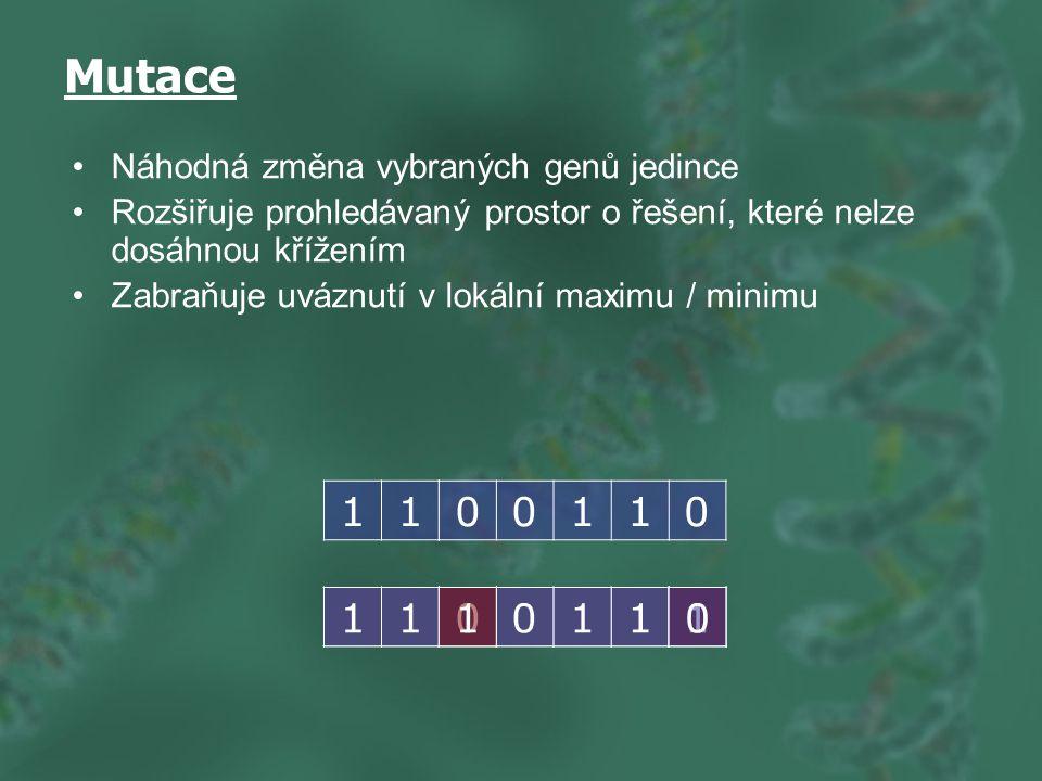 Mutace Náhodná změna vybraných genů jedince Rozšiřuje prohledávaný prostor o řešení, které nelze dosáhnou křížením Zabraňuje uváznutí v lokální maximu / minimu 11 00110 110110110