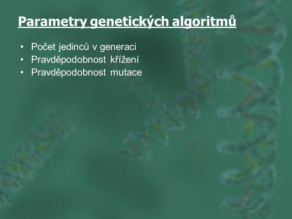 Parametry genetických algoritmů Počet jedinců v generaci Pravděpodobnost křížení Pravděpodobnost mutace