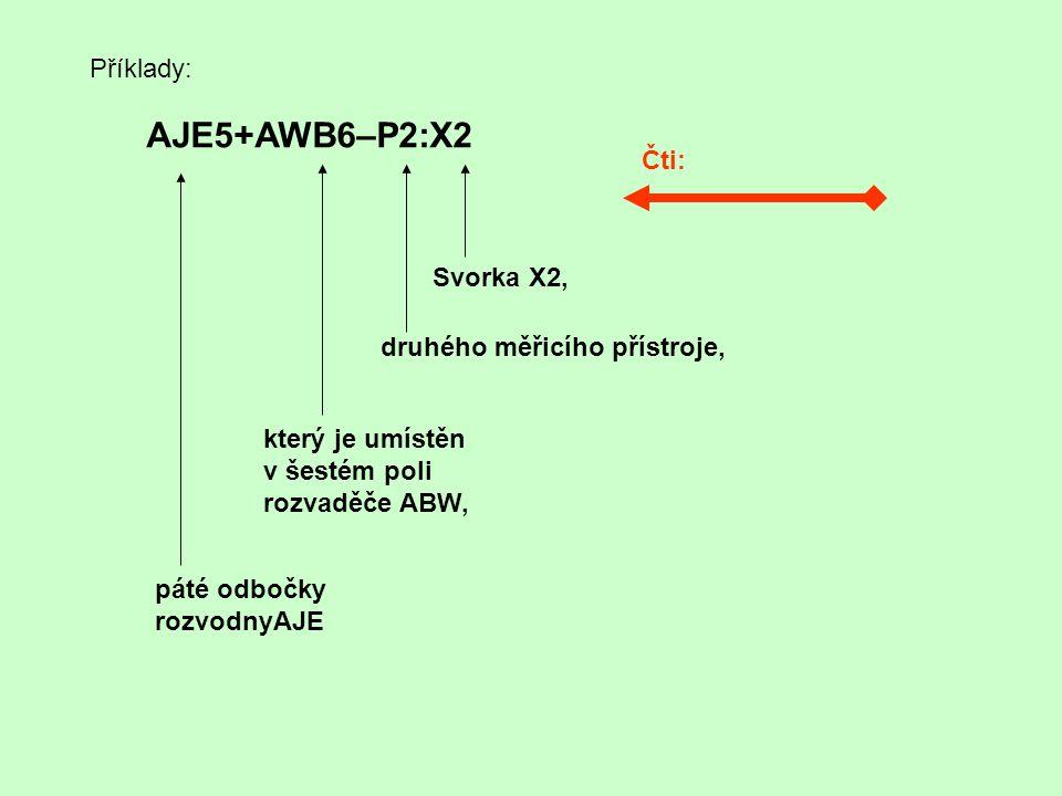 Příklady: AJE5+AWB6–P2:X2 Čti: Svorka X2, druhého měřicího přístroje, který je umístěn v šestém poli rozvaděče ABW, páté odbočky rozvodnyAJE