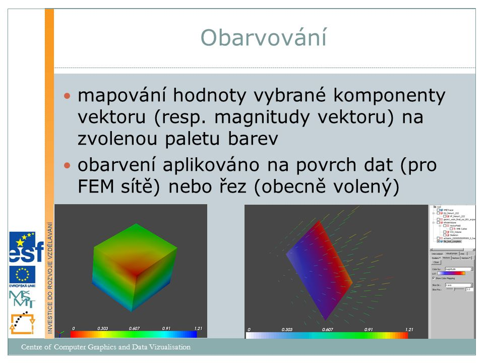 mapování hodnoty vybrané komponenty vektoru (resp. magnitudy vektoru) na zvolenou paletu barev obarvení aplikováno na povrch dat (pro FEM sítě) nebo ř