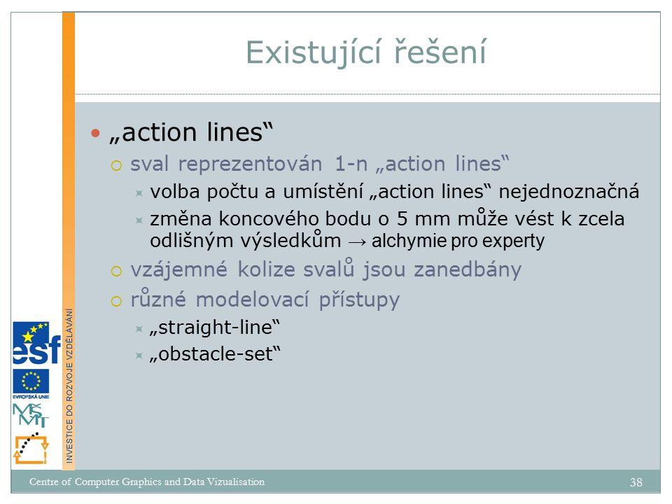 """""""action lines  sval reprezentován 1-n """"action lines  volba počtu a umístění """"action lines nejednoznačná  změna koncového bodu o 5 mm může vést k zcela odlišným výsledkům → alchymie pro experty  vzájemné kolize svalů jsou zanedbány  různé modelovací přístupy  """"straight-line  """"obstacle-set Existující řešení Centre of Computer Graphics and Data Vizualisation 38"""