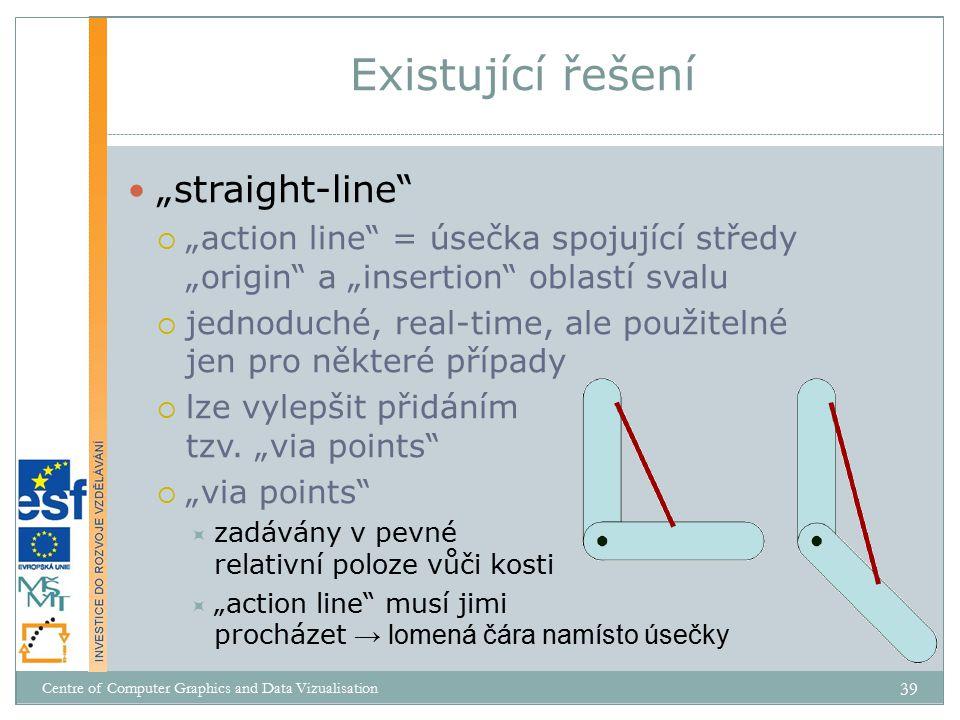 """""""straight-line  """"action line = úsečka spojující středy """"origin a """"insertion oblastí svalu  jednoduché, real-time, ale použitelné jen pro některé případy  lze vylepšit přidáním tzv."""