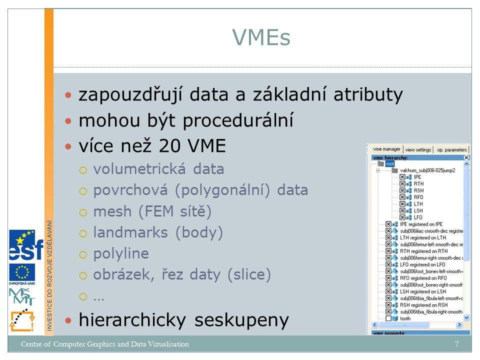 zapouzdřují data a základní atributy mohou být procedurální více než 20 VME  volumetrická data  povrchová (polygonální) data  mesh (FEM sítě)  landmarks (body)  polyline  obrázek, řez daty (slice)  … hierarchicky seskupeny VMEs Centre of Computer Graphics and Data Vizualisation 7