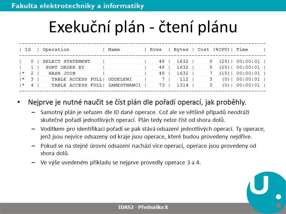 Exekuční plán - čtení plánu Nejprve je nutné naučit se číst plán dle pořadí operací, jak proběhly. – Samotný plán je seřazen dle ID dané operace. Což