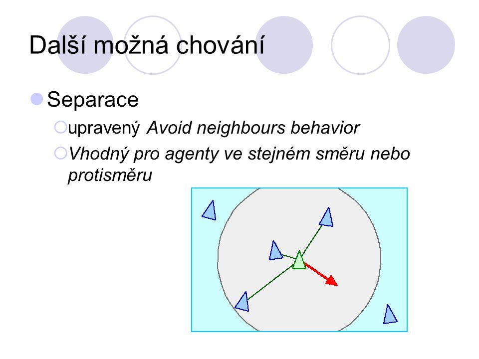 Další možná chování Separace  upravený Avoid neighbours behavior  Vhodný pro agenty ve stejném směru nebo protisměru