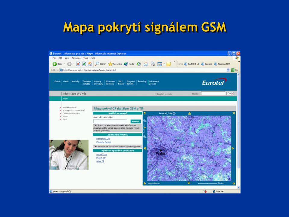 Mapa pokrytí signálem GSM
