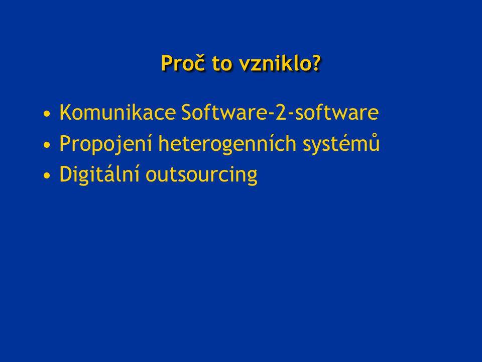 Proč to vzniklo? Komunikace Software-2-software Propojení heterogenních systémů Digitální outsourcing