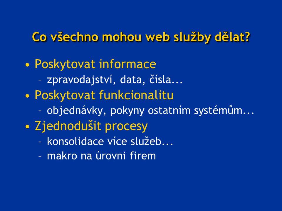 Co všechno mohou web služby dělat? Poskytovat informace –zpravodajství, data, čísla... Poskytovat funkcionalitu –objednávky, pokyny ostatním systémům.