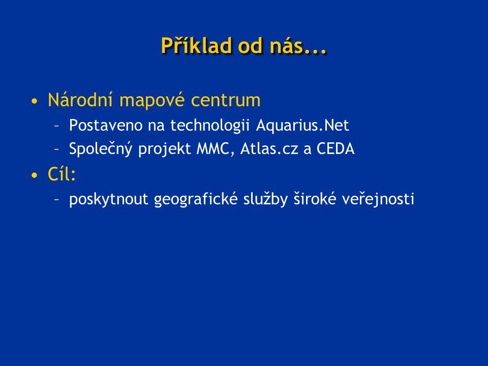 Příklad od nás... Národní mapové centrum –Postaveno na technologii Aquarius.Net –Společný projekt MMC, Atlas.cz a CEDA Cíl: –poskytnout geografické sl