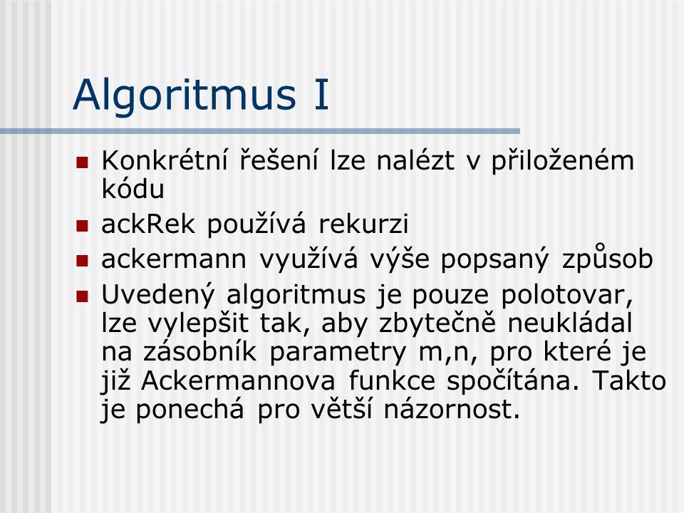 Algoritmus I Konkrétní řešení lze nalézt v přiloženém kódu ackRek používá rekurzi ackermann využívá výše popsaný způsob Uvedený algoritmus je pouze po