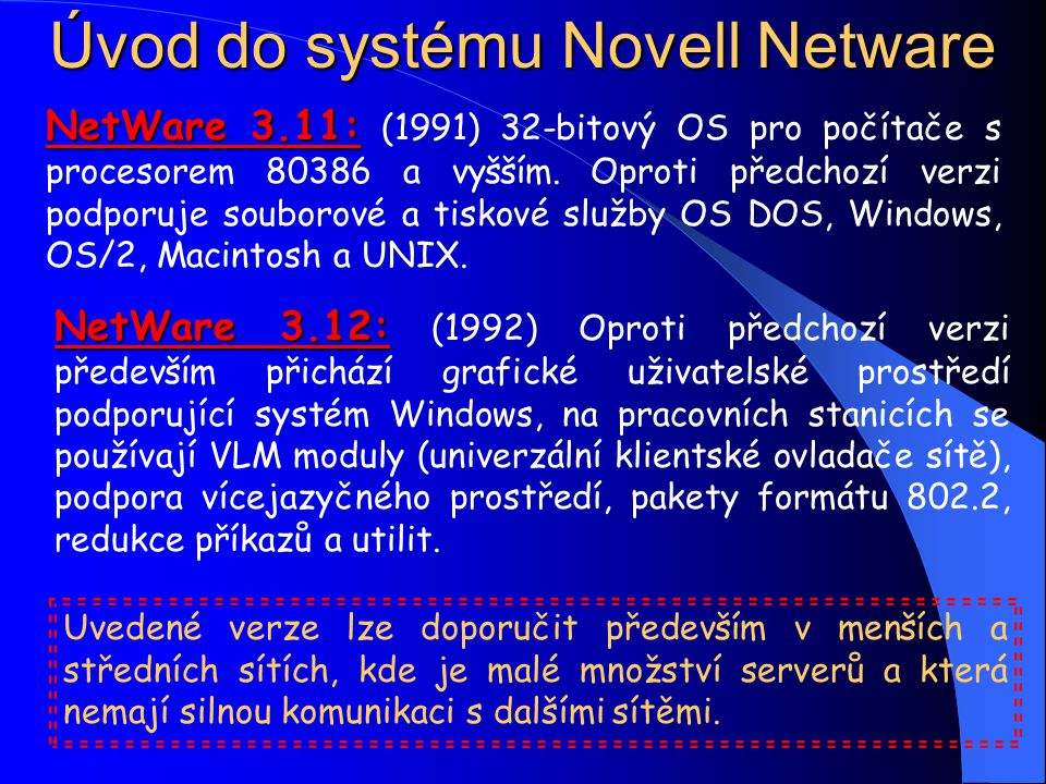 Úvod do systému Novell Netware NetWare 3.11: NetWare 3.11: (1991) 32-bitový OS pro počítače s procesorem 80386 a vyšším.