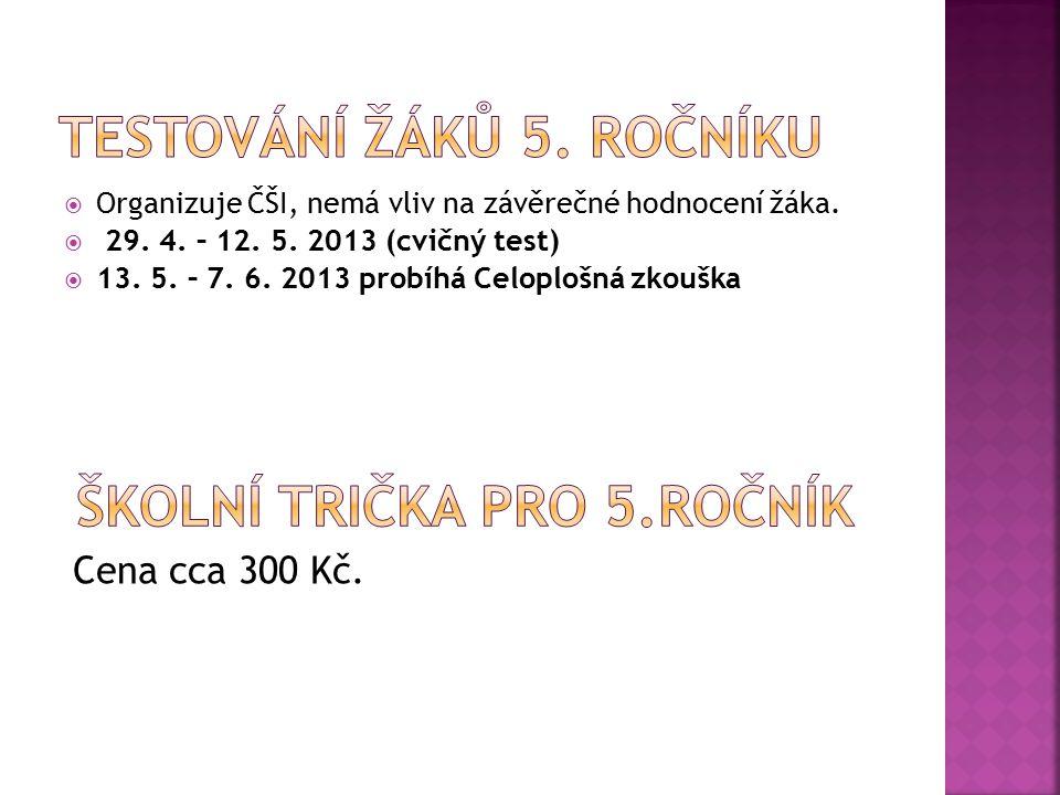  Organizuje ČŠI, nemá vliv na závěrečné hodnocení žáka.  29. 4. – 12. 5. 2013 (cvičný test)  13. 5. – 7. 6. 2013 probíhá Celoplošná zkouška Cena cc