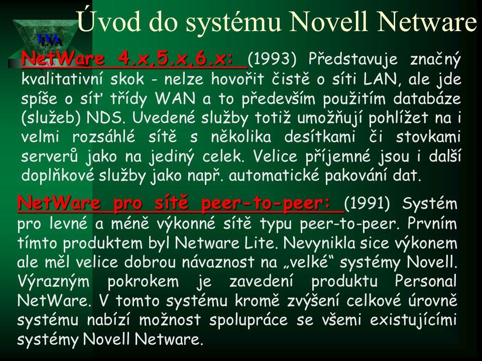 LVALVA WAN Úvod do systému Novell Netware NetWare 3.11: NetWare 3.11: (1991) 32-bitový OS pro počítače s procesorem 80386 a vyšším.