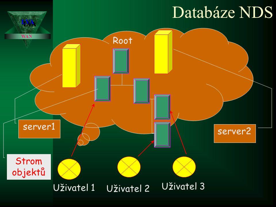 LVALVA WAN Databáze Bindery Uživatel 1 Uživatel 2 Uživatel 3 server1 server2 Objekty na serveru