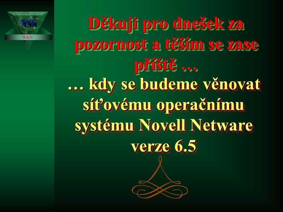 LVALVA WAN Připojování stanic -pomocí ovladače ODI a VLM: -pomocí ovladače ODI a VLM: využívá se především u sítí Netware 4.x a dalších uživatel IPXODI.COM Driver MLID LSL.COM Síťová karta TCPIP.EXEApple Talk VLM modulyTELNET, FTP,… NetWareUNIX MacIntosh