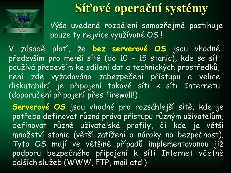 Síťové operační systémy LVALVA WAN S jistou (podstatnou) mírou zjednodušení můžeme síťové operační systémy rozdělit na serverové (topologie klient – server a bez serverové (peer – to peer).