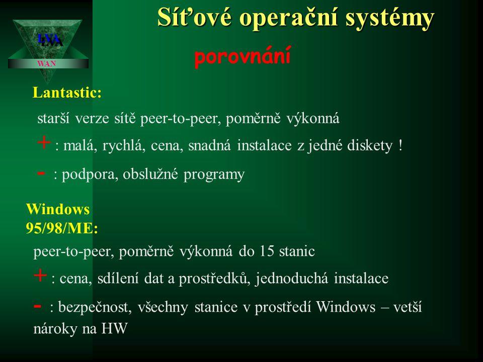 Síťové operační systémy LVALVA WAN porovnání Lantastic: starší verze sítě peer-to-peer, poměrně výkonná + : malá, rychlá, cena, snadná instalace z jedné diskety .