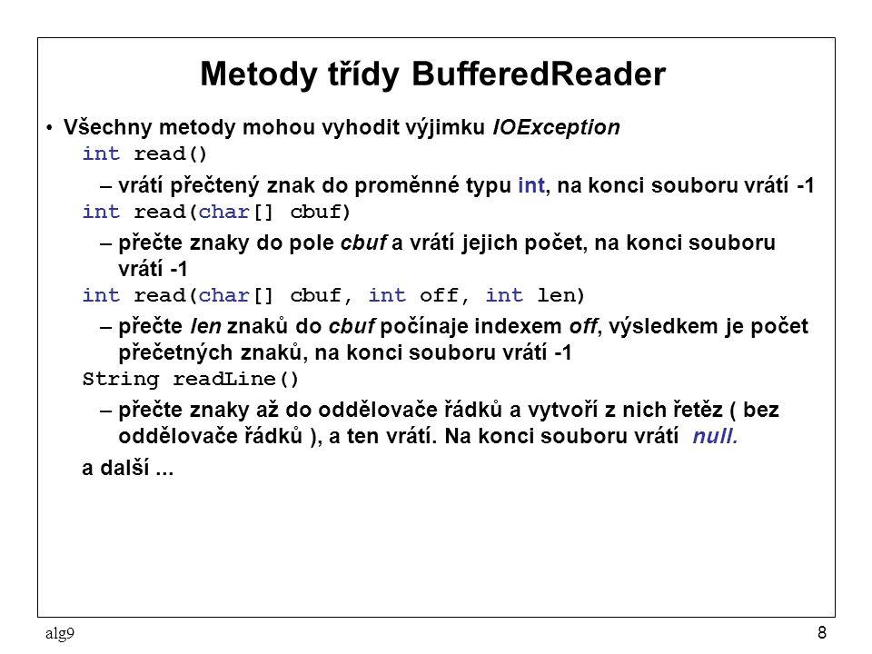 alg99 Čtení textu po lexikálních elementech Textový soubor se často skládá z lexikálních elementů tvořených posloupnostmi znaků s určitou syntaxí Čtení textového souboru po lexikálních elementech umožňuje třída StreamTokenizer, která rozlišuje 4 druhy lexikálních elementů ( tokens ): –číslo, jako posloupnost dekadických číslic příp.