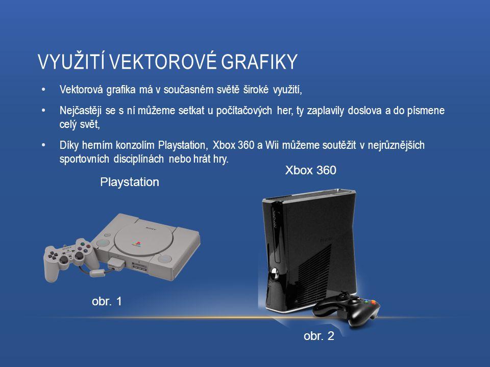 VYUŽITÍ VEKTOROVÉ GRAFIKY Vektorová grafika má v současném světě široké využití, Nejčastěji se s ní můžeme setkat u počítačových her, ty zaplavily doslova a do písmene celý svět, Díky herním konzolím Playstation, Xbox 360 a Wii můžeme soutěžit v nejrůznějších sportovních disciplínách nebo hrát hry.