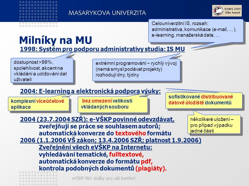 eVŠKP MU: služby pro váš komfort Milníky na MU 1998: Systém pro podporu administrativy studia: IS MU 2004: E-learning a elektronická podpora výuky: 2004 (23.7.2004 SZŘ): e-VŠKP povinné odevzdávat, zveřejňují se práce se souhlasem autorů; automatická konverze do textového formátu 2006 (1.1.2006 VŠ zákon; 13.4.2006 SZŘ; platnost 1.9.2006) Zveřejnění všech eVŠKP na Internetu: vyhledávání tematické, fulltextové, automatická konverze do formátu pdf, kontrola podobných dokumentů (plagiáty).