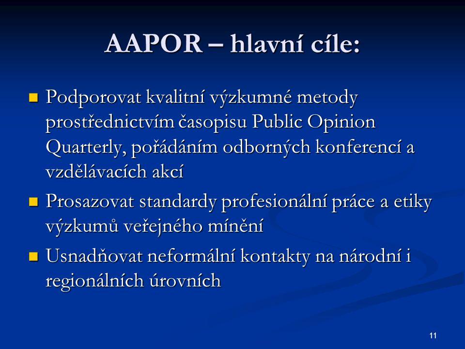 11 AAPOR – hlavní cíle: Podporovat kvalitní výzkumné metody prostřednictvím časopisu Public Opinion Quarterly, pořádáním odborných konferencí a vzdělá