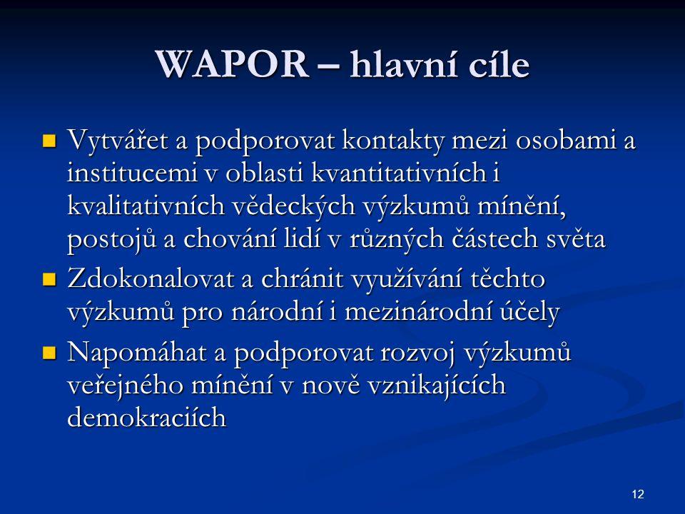 12 WAPOR – hlavní cíle Vytvářet a podporovat kontakty mezi osobami a institucemi v oblasti kvantitativních i kvalitativních vědeckých výzkumů mínění,