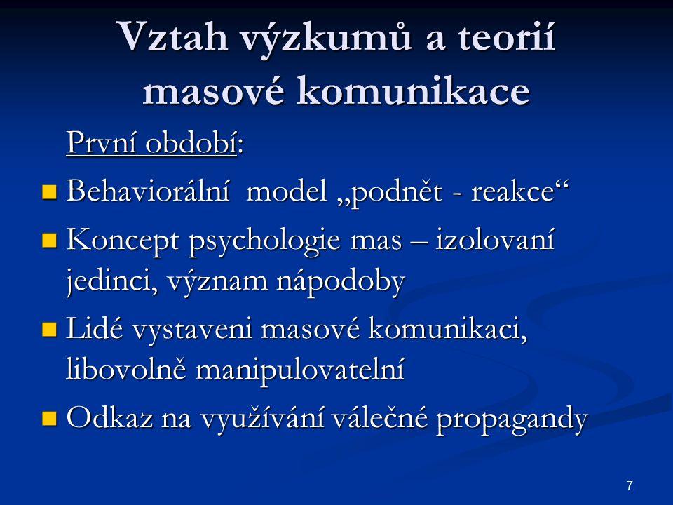 """7 Vztah výzkumů a teorií masové komunikace První období: Behaviorální model """"podnět - reakce"""" Behaviorální model """"podnět - reakce"""" Koncept psychologie"""