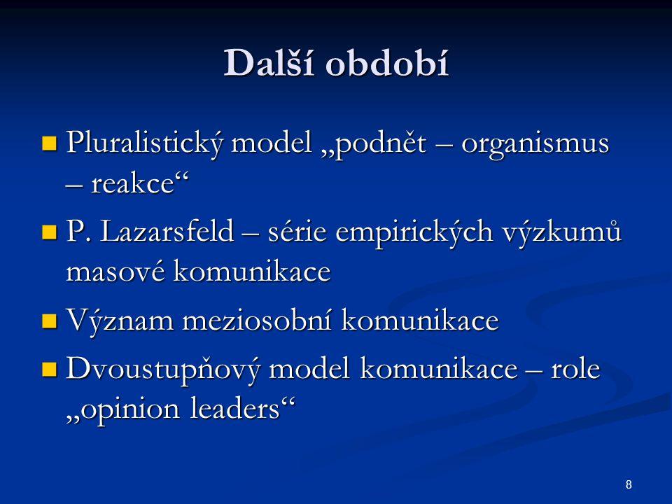 """8 Další období Pluralistický model """"podnět – organismus – reakce"""" Pluralistický model """"podnět – organismus – reakce"""" P. Lazarsfeld – série empirických"""
