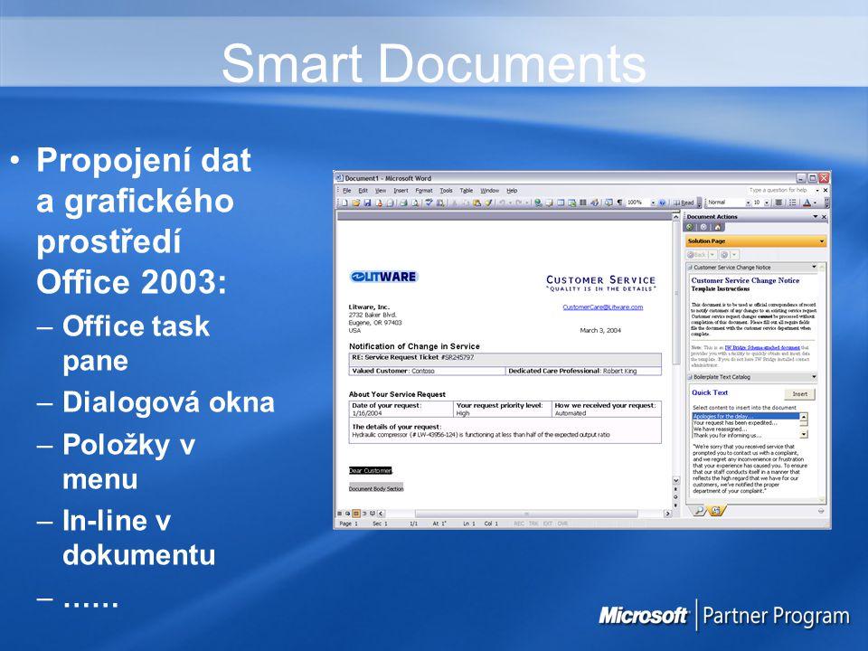 Smart Documents Propojení dat a grafického prostředí Office 2003: –Office task pane –Dialogová okna –Položky v menu –In-line v dokumentu –……
