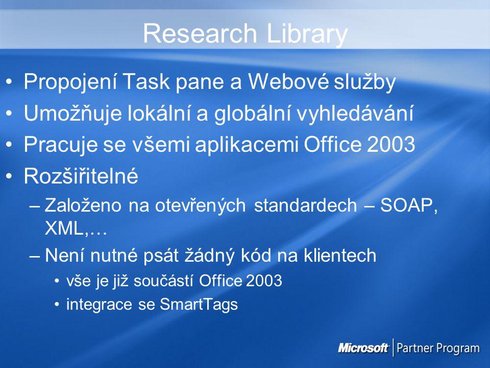 Research Library Propojení Task pane a Webové služby Umožňuje lokální a globální vyhledávání Pracuje se všemi aplikacemi Office 2003 Rozšiřitelné –Založeno na otevřených standardech – SOAP, XML,… –Není nutné psát žádný kód na klientech vše je již součástí Office 2003 integrace se SmartTags