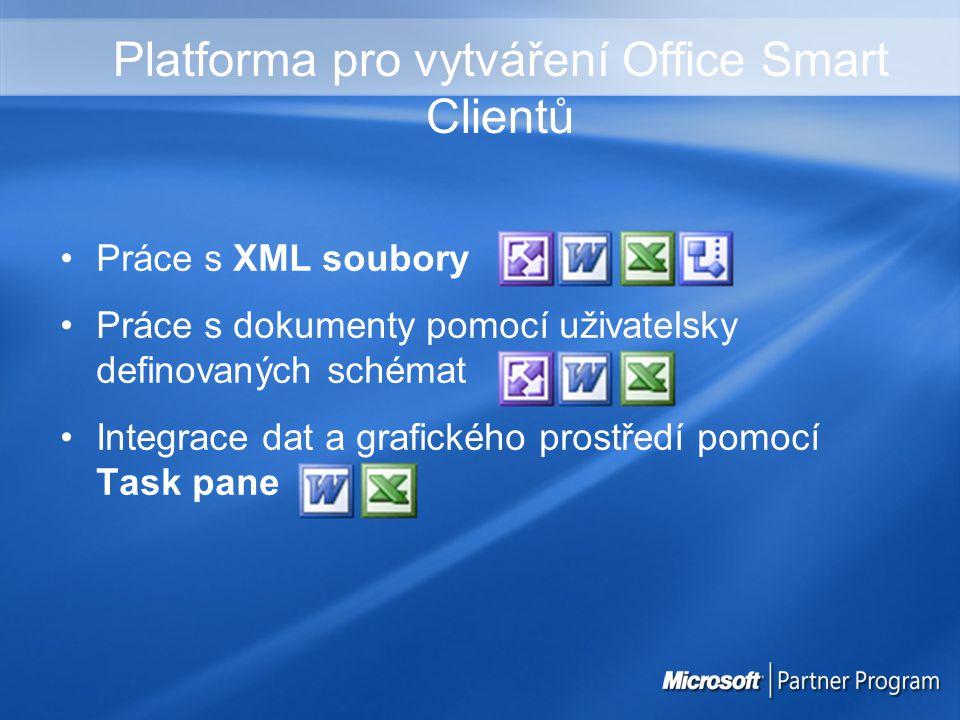 Platforma pro vytváření Office Smart Clientů Práce s XML soubory Práce s dokumenty pomocí uživatelsky definovaných schémat Integrace dat a grafického prostředí pomocí Task pane