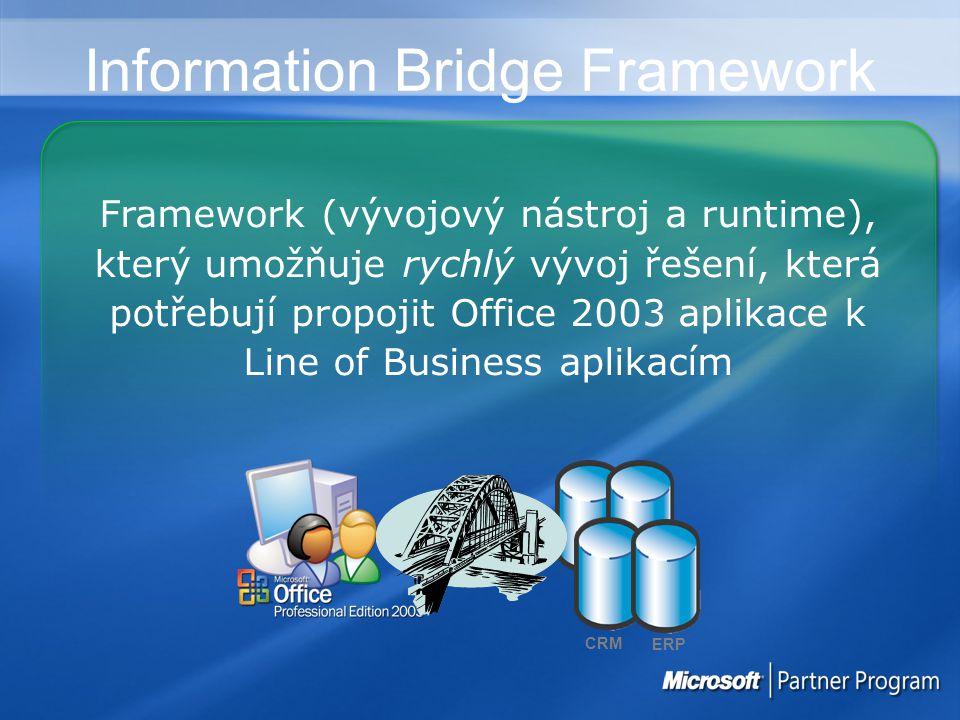 Information Bridge Framework Framework (vývojový nástroj a runtime), který umožňuje rychlý vývoj řešení, která potřebují propojit Office 2003 aplikace k Line of Business aplikacím ERP CRM